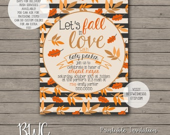 Fall Baby Shower Invitation, Baby Shower Invitation, Let's Fall In Love Invitation, Autumn Invitation, Rustic Invitation, Digital File