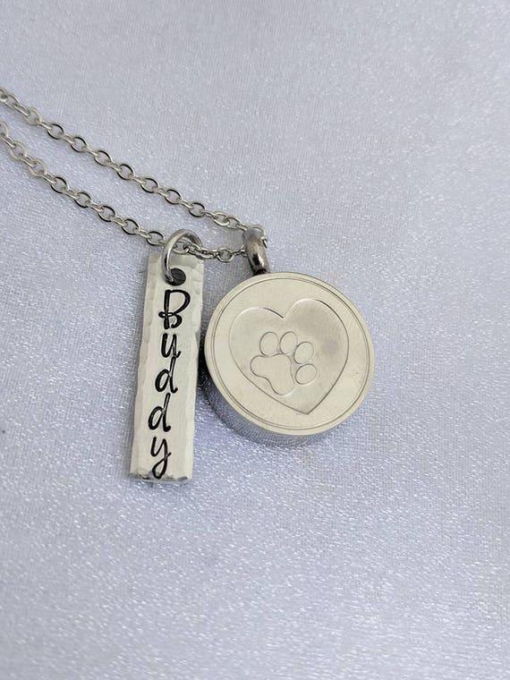 Urn Necklace - Loss of Pet - Pet Cremation Urn - Cremation Pendant - Pet Ashes Locket - Customized Name Urn Necklace - Keepsake Urn - Grief