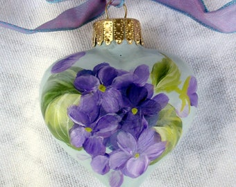 Violets Heart Ornament ~ Handpainted Violets ~ February Birthday ~ Cottage Chic
