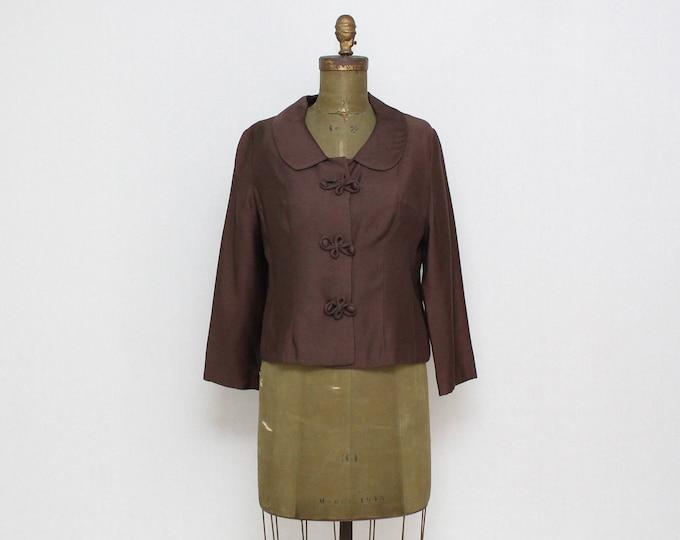 Vintage 1950s Chocolate Brown Blazer - Size Small