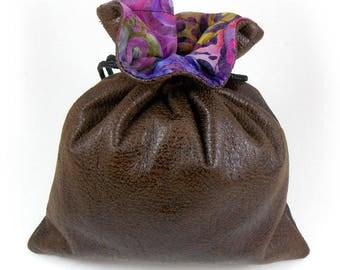 Brown Faux Leather / Yellow Purple Green Blue Swirls Batik Lined Dice Bag / Drawstring Pouch