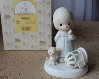 Enesco Precious Moments 1986 Figurine 'The Lord Giveth The Lord Taketh Away' 100226 Samuel J. Butcher MIB