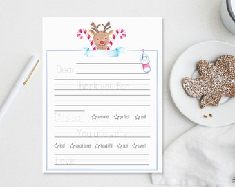 Kids Thank You Note - thank you - thank you cards - child - printable - christmas - holiday - thank you letter - letter from child- reindeer