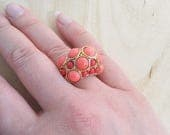 Kenneth Jay Lane ring Women Statement coral ring size 6.5 Domed cocktail ring Faux coral Clear crystals gold ring  KJL jewelry gift
