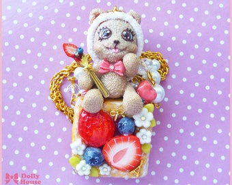 Kawaii Strawberry Bear Necklace by Dolly House