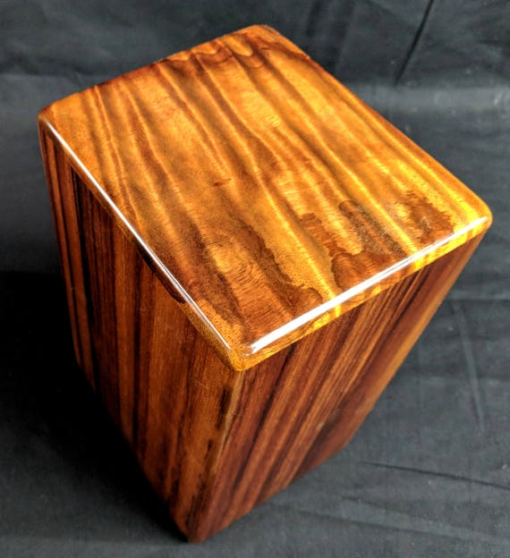 "Curly Hawaiian Koa Medium Size Memorial Cremation Urn...5 3/4"" x 5"" x 9"" ..Constant Supply On Hand Wooden Cremation Urn MK021918-A"