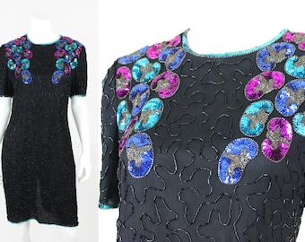 Vintage Sequin Dress Black Blue Purple Size Medium