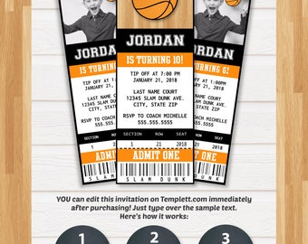 Basketball Invitations - Basketball Ticket Invitation - Basketball Birthday Invitations - Basketball Party Invitation - INSTANT ACCESS!