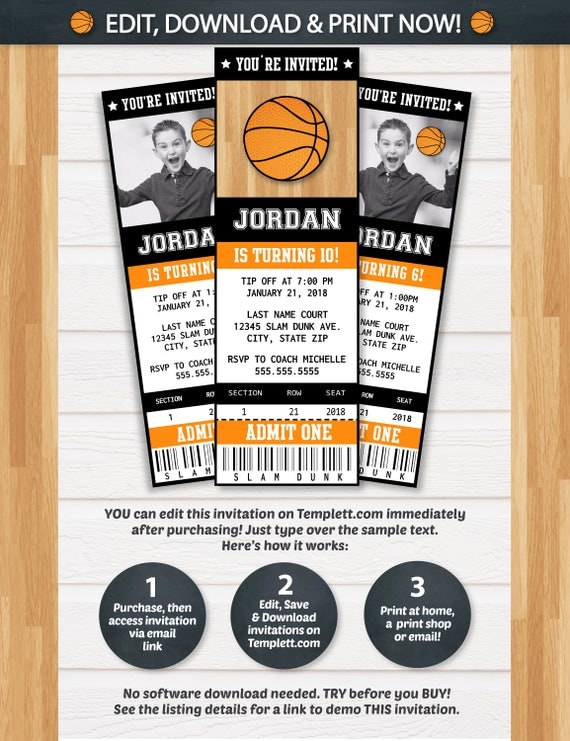 basketball invitations basketball ticket invitation basketball birthday invitations basketball party invitation instant access - Basketball Party Invitations