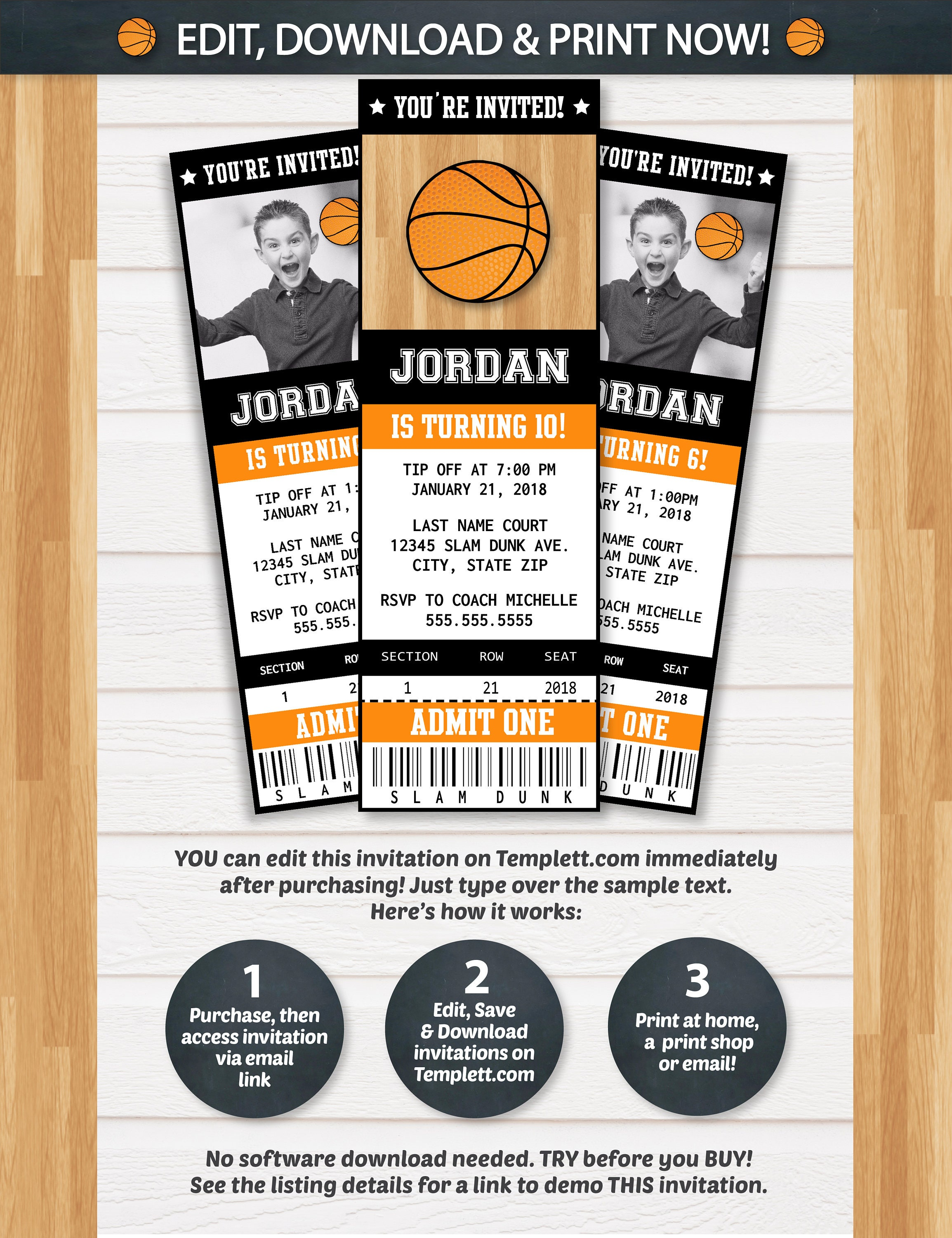 Basketball Invitations Basketball Ticket Invitation – Basketball Birthday Invitations