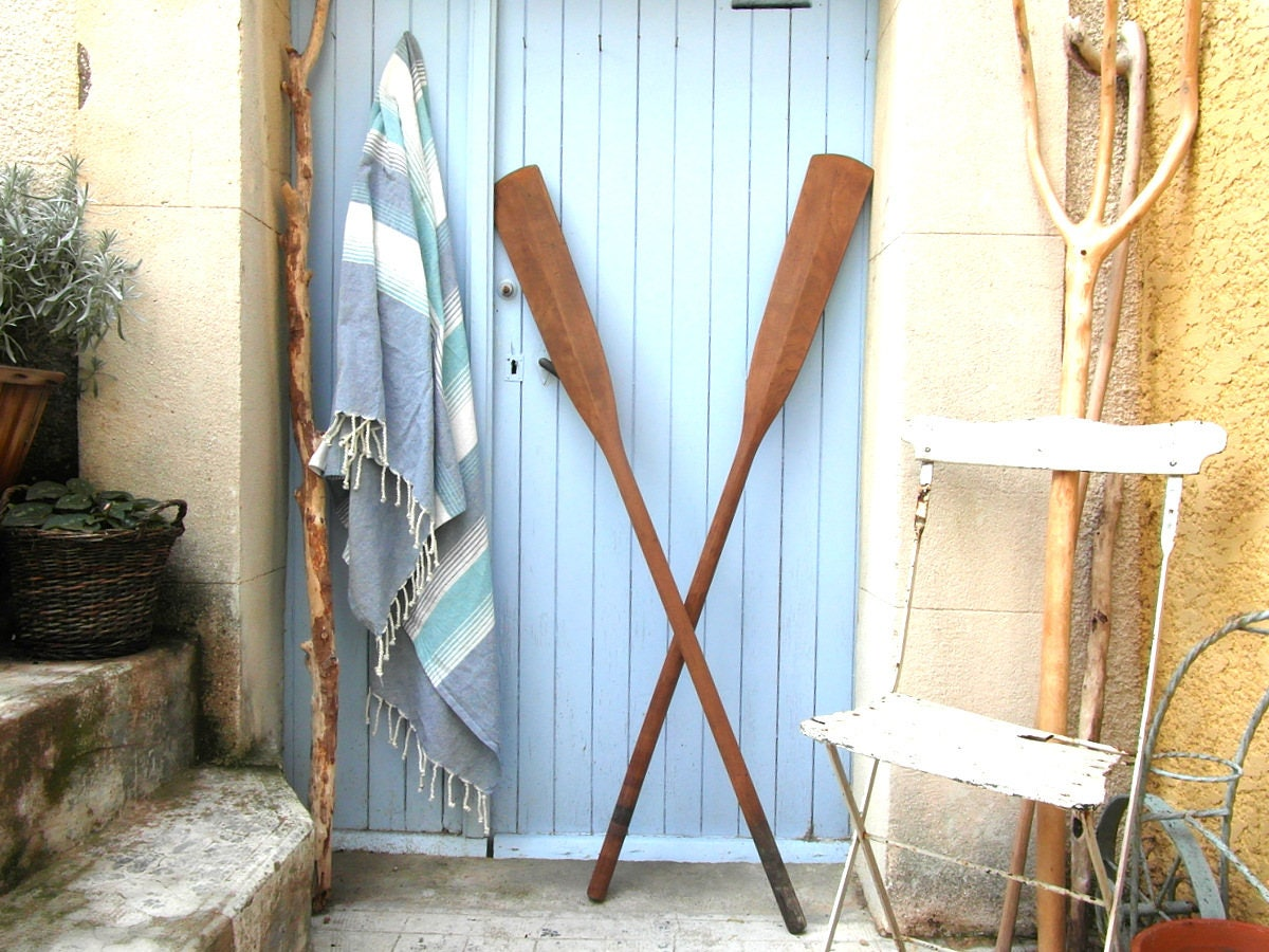 Finest 2 long vintage wooden oars wall decor, boat paddles, canoe paddles  RX52