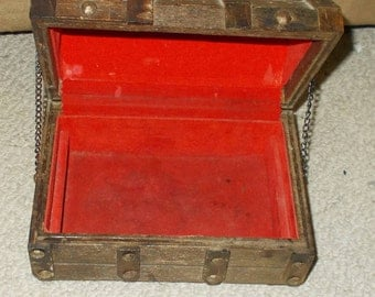 Man Cave Little  Vintage Wooden Pirates Chest Trinket Box Red Lined Interior With Outer Studs