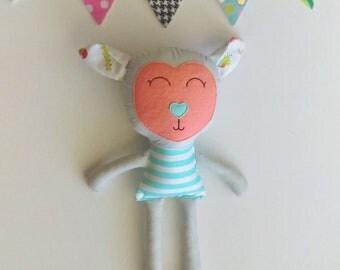 Lamb doll, Fabric doll, Handmade doll, Rag doll, Boys room decor, Boys toy, Baby gift, Cloth doll, Sheep, Lamb, Plush, Nursery