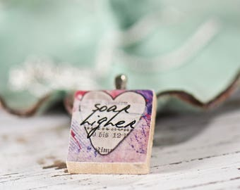 Soar Higher Inspirational Scrabble Tile Necklace, Heart Pendant, Unique Gifts, Motivational Charm, Gifts for Her, Upcycled Jewelry Boutique