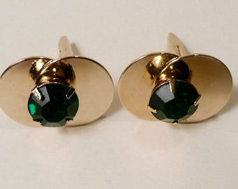 Mid Century Vintage Gold Tone Cufflinks With Prong Set Green Glass Stone