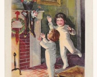 Full Stockings Christmas Postcard, c. 1910