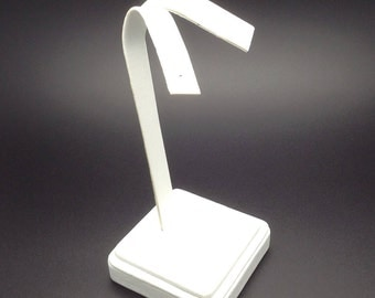 White Faux Leather Stand Earring Display