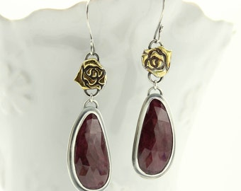 Ruby Rose Earrings Sterling Silver and 22k Gold Artisan Jewelry Rubies