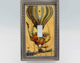 Circus Art Light Switch Cover, Aerialist and Hot Air Balloon Light Switch, Man on the Flying Trapeze Switchplate, Vintage Carnival Collage