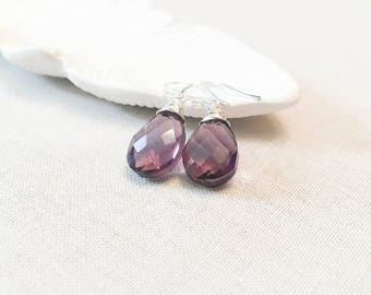 Violet Kunzite Drop Earrings - 925 Sterling Silver Wire Wrapped Faceted Purple Quartz Simple Minimalist Drops Gift for Her Sparkling