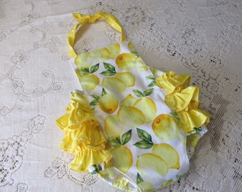 Lemons Ruffled Bubble Romper - Lemonade Stand Party - Lemon Yellow Polka Dots - Infant Toddler Child Sizes - Vintage-Style Sunsuit -