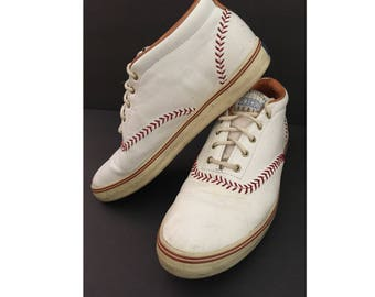 RARE Keds BOOTIES, Vintage Keds Baseball Championship Series, Leather Women's Pennant Booties with BOX, Size 8M, 8 M, White & Red Sneakers