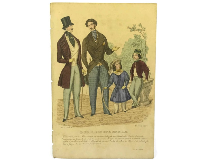 Hand-Colored Fashion Plate Engraving from O Correio das Damas.