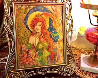 Gypsy and Peacock Art Nouveau Style - Original Watercolor Framed