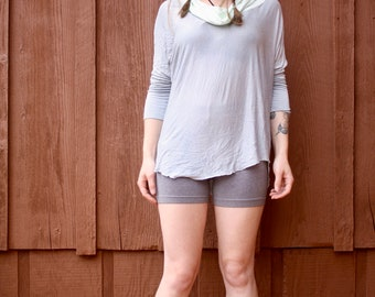faded blue cowl neck top