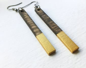 Wood & Gold Rectangle Earrings - Laser Cut Jewelry, Laser Cut Earrings, Lightweight Earrings, Gift for women, Joanna Gaines, Natural Jewelry