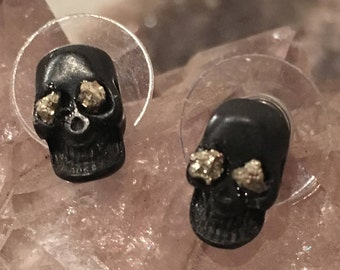 Skull Earrings with Pyrite Eyes