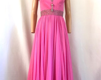 1960's Pink Chiffon Maxi Gown Silver beading sz. XS