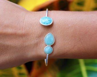Handmade Sterling Silver Amazonite Open Cuff Bangle Bracelet