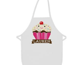 Custom Kids Apron, Girls Apron, Personalized Aprons, Cupcake Party Idea, Cupcake Birthday Party Gift