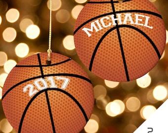 Basketball Christmas Ornament, Custom Christmas Ornament, Sports Ornament, Basketball Ornament, 2017 Christmas Ornament