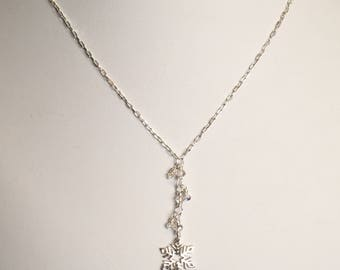 Sterling Silver Falling Snowflake necklace