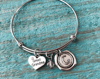 SALE, GREAT GRANDMA, Great Grandma Gift, Great Grandma Jewelry, Grandma Gift, Gift for Grandma, New Grandma, Silver Bracelet, Keepsake, Gift