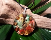 Tigers Eye Orgone Pendant - Kokopelli - Orgone Art Necklace, Healing Crystals, EMF Protection and Feng Shui Jewellery - Large