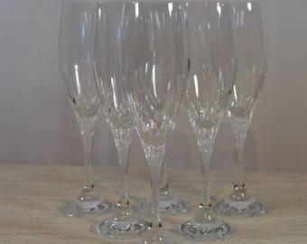 Six Schott Zweisel Crystal Champagne Flutes