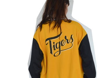 Vintage clothing 90's 90s jacket - activewear - Tigers black and yellow sports letterman jacket -large