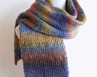 Double Knit Scarf - Multicolor Thick Winter Scarf - Warm Wool Blend Women's Scarf - Men's Scarf -  Blue Purple Red and Yellow Knitted Scarf