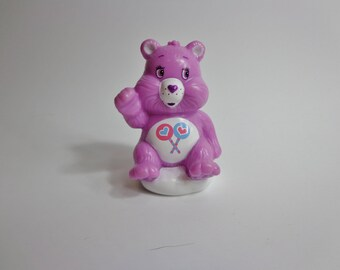 Collectible Retro Care Bears Share Bear on Cloud Toy Novelty Cake Topper Nostalgia Party Decoration, Purple Mini Figure with Lollipop Image