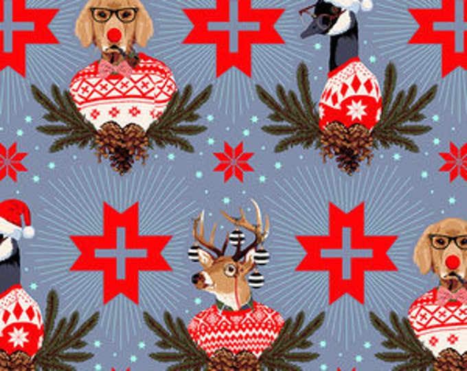 Buck, Buck, Goose in Blue Spruce- Holiday Homies by Tula Pink- Holiday Fabric