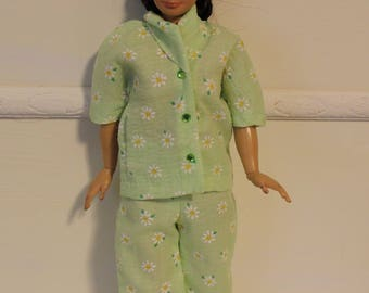 Handmade Lammily Clothes.  Green Daisy Pajamas with snaps.   Handmade in the USA.  Does not fit Barbie sized  Dolls.