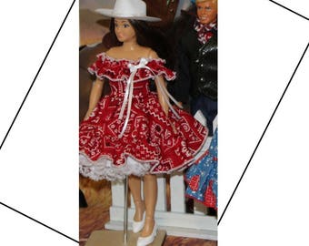 Handmade Lammily Clothes Western Square Dance Cowgirl Dress, Slip, and White  Hat (Will not fit Barbie sized dolls)