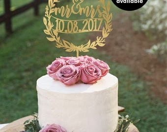 Mr and Mrs Cake Topper with date,  Personalized Wedding Cake Topper, Gold Cake Topper, Glitter Cake Topper, Silver CT-007