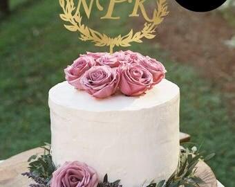 Monogram Cake Topper with SemiWreath,  Personalized Wedding Cake Topper, Gold Cake Topper, Glitter Cake Topper, Silver CT-007