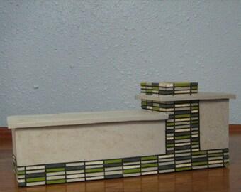 Palm Springs Mid-Century Modern Lime Green Brick House Ceramic Sculpture