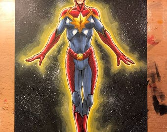 Marvel Comics CAPTAIN MARVEL illustration by artist Tom Hodges