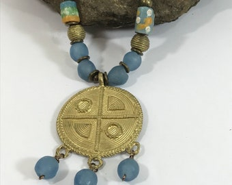 African Trade Bead Necklace, Ethnic Jewelry , Beaded Statement Necklace